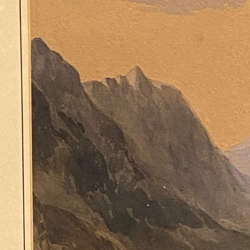 20th Century Watercolour Mountain Scene image-4