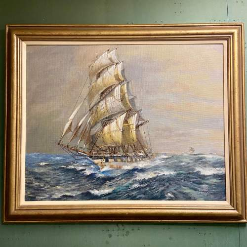 Large Colin Verity Oil on Board Painting of a Sailing Ship image-1
