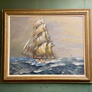 Large Colin Verity Oil on Board Painting of a Sailing Ship