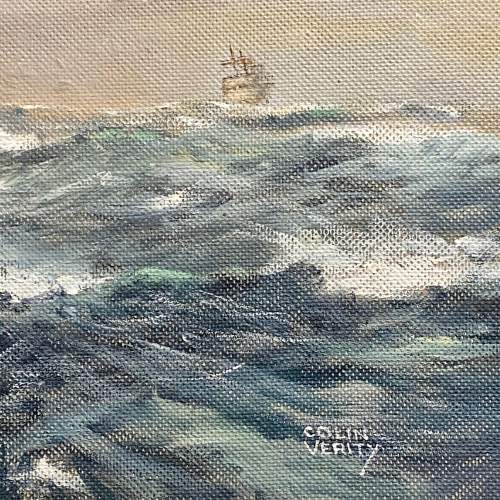 Large Colin Verity Oil on Board Painting of a Sailing Ship image-4