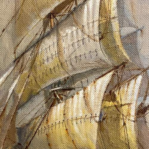 Large Colin Verity Oil on Board Painting of a Sailing Ship image-3