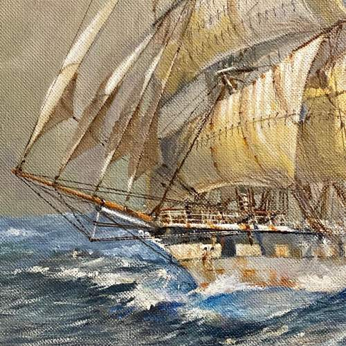 Large Colin Verity Oil on Board Painting of a Sailing Ship image-2