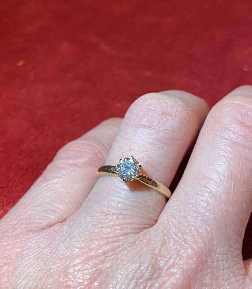 Certificated 0.58ct Diamond Solitaire Ring mounted in 14ct Gold image-4