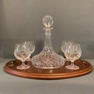 Ships Crystal Brandy Decanter Set on Tray