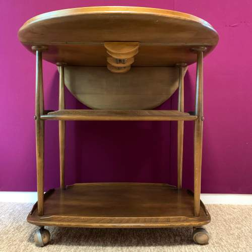 Ercol Elm and Beech Windsor Drop Leaf Trolley image-3
