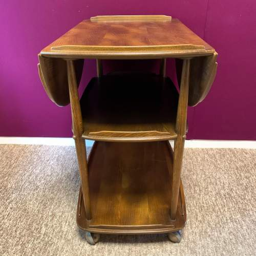 Ercol Elm and Beech Windsor Drop Leaf Trolley image-5