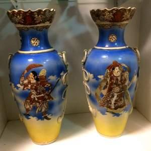 Pair of Large Japanese Satsuma Vases