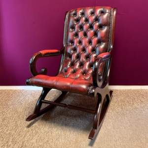 Vintage Oxblood Red Leather Rocking Chair