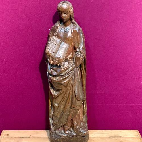 Fine 15th Century Carved Wooden Sculpture of the Teaching of Mary image-1