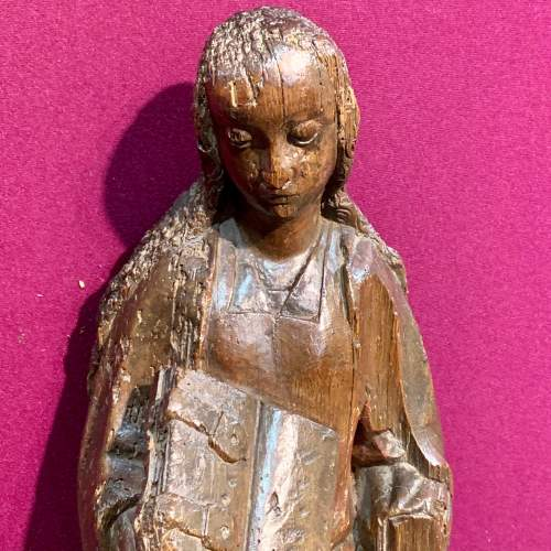 Fine 15th Century Carved Wooden Sculpture of the Teaching of Mary image-2