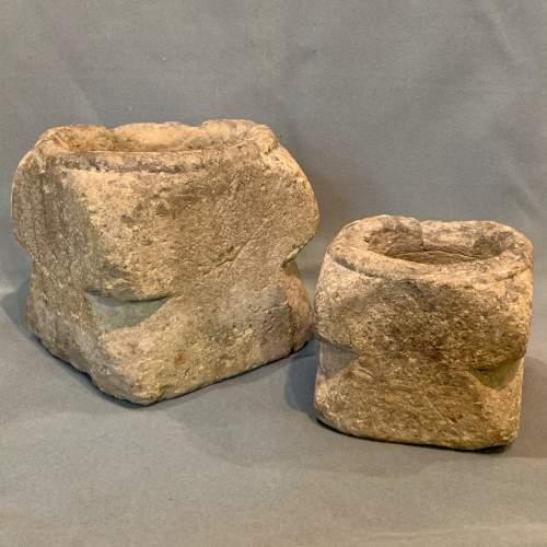 Two Rare 17th Century English Graduated Limestone Mortars image-1