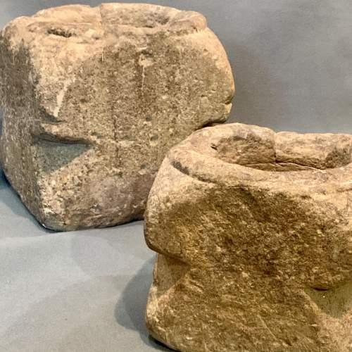 Two Rare 17th Century English Graduated Limestone Mortars image-4