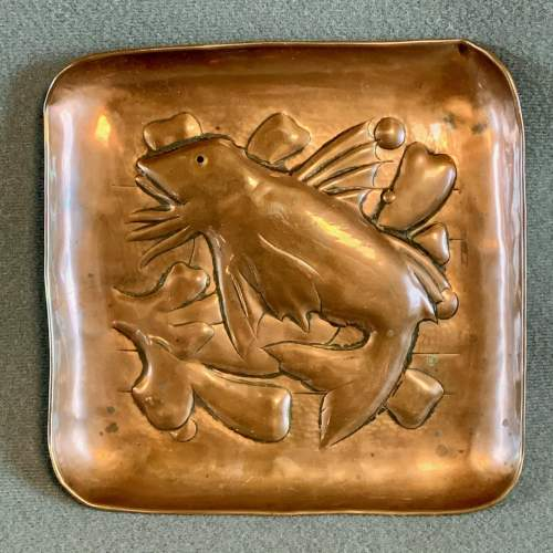Newlyn Arts and Crafts Copper Fish Tray image-1