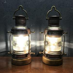 Great Pair of Ships Anchorlights Converted to Electric Lamps