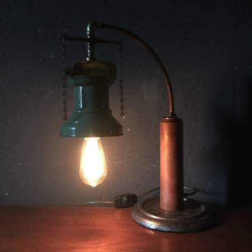 Rail Station Gas Wall Light Converted to Electric Table Lamp image-2