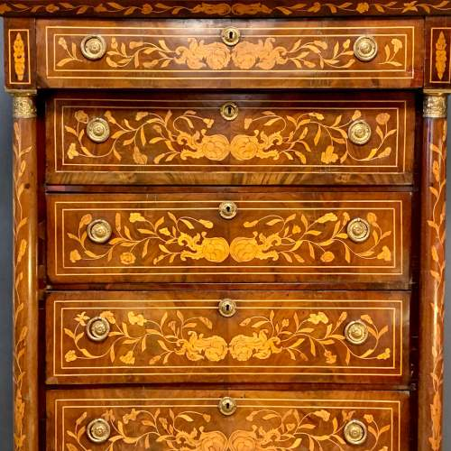 19th Century Marquetry Secretaire Chest image-2