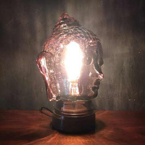 Vintage Glass Buddha Head Repurposed into a Great Lamp image-3