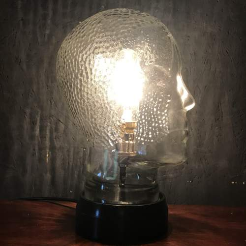 Vintage Glass Female Mannequin Head Repurposed into a Great Lamp image-1
