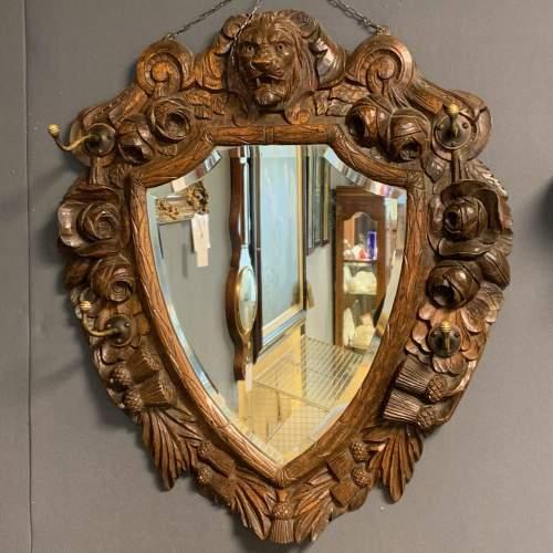 Antique Black Forest Carved Oak Mirror image-1