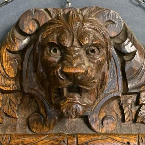 Antique Black Forest Carved Oak Mirror image-2
