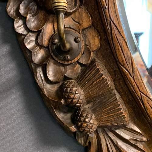 Antique Black Forest Carved Oak Mirror image-4