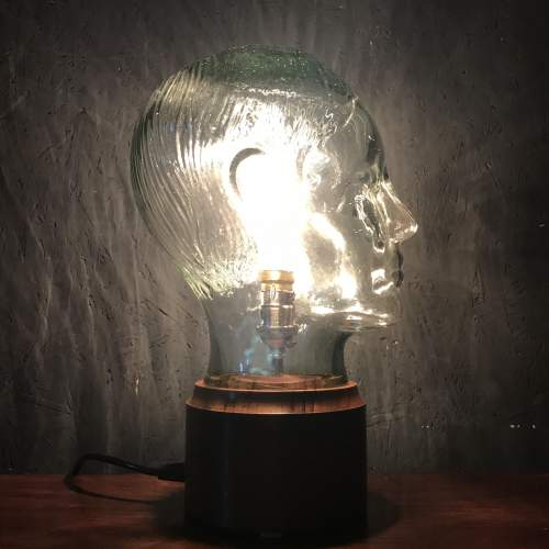 Vintage Glass Male Mannequin Head Repurposed into a Great Lamp image-1