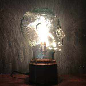 Vintage Glass Male Mannequin Head Repurposed into a Great Lamp