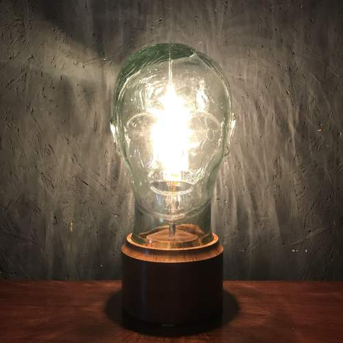 Vintage Glass Male Mannequin Head Repurposed into a Great Lamp image-2