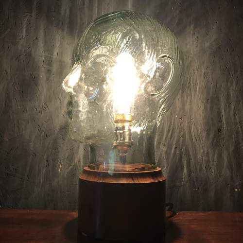 Vintage Glass Male Mannequin Head Repurposed into a Great Lamp image-3
