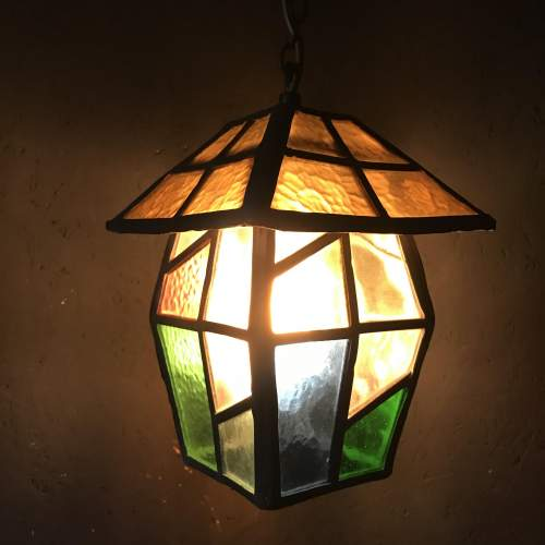 Vintage Lead and Glass Ceiling Light image-1