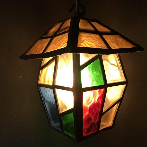 Vintage Lead and Glass Ceiling Light image-2