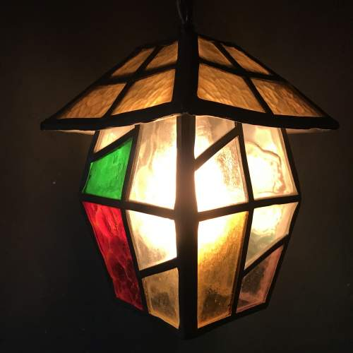 Vintage Lead and Glass Ceiling Light image-3