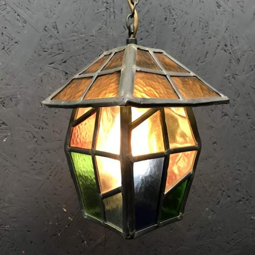Vintage Lead and Glass Ceiling Light image-4