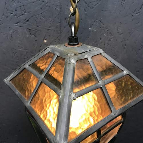 Vintage Lead and Glass Ceiling Light image-5