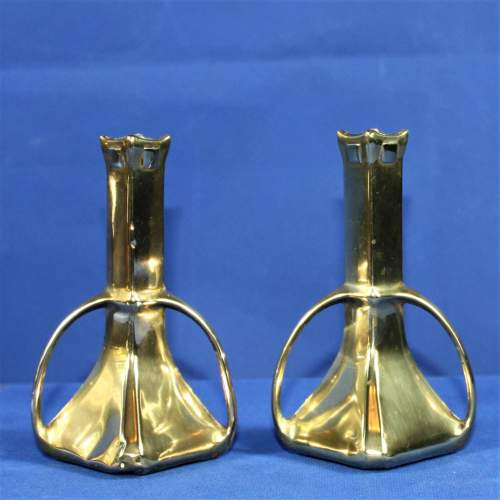 Pair of Arts and Crafts Brass Spill Vases image-1
