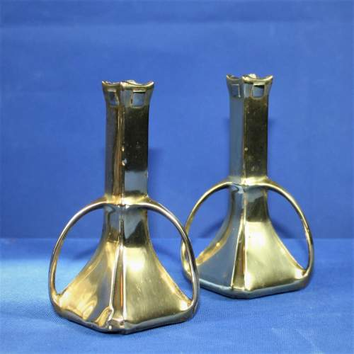 Pair of Arts and Crafts Brass Spill Vases image-3