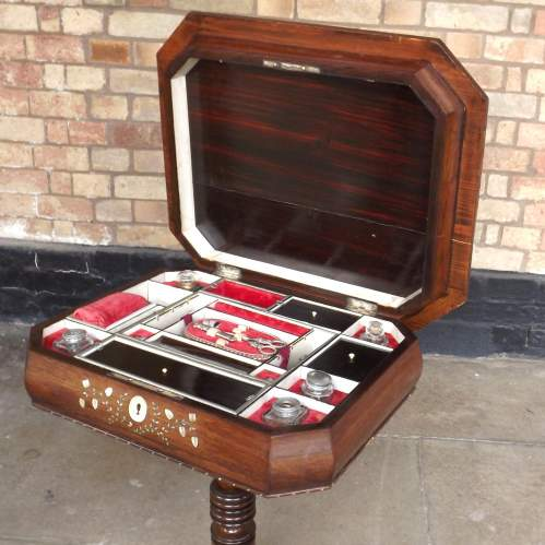 Victorian Inlaid Rosewood Fitted ladies Work Table and Contents image-4