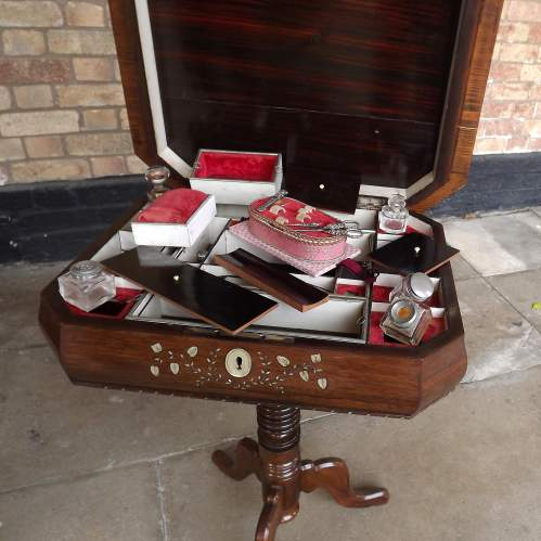 Victorian Inlaid Rosewood Fitted ladies Work Table and Contents image-5