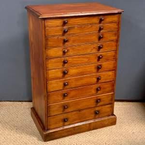 19th Century Ten Drawer Polished Pine Specimen Chest