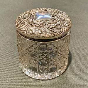 Silver Topped Crystal Pot Pourri Pot