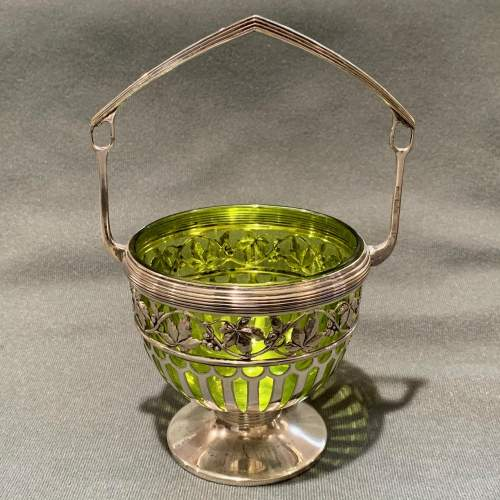 WMF Silver Plate Bowl with Green Glass Liner image-1