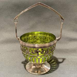 WMF Silver Plate Bowl with Green Glass Liner
