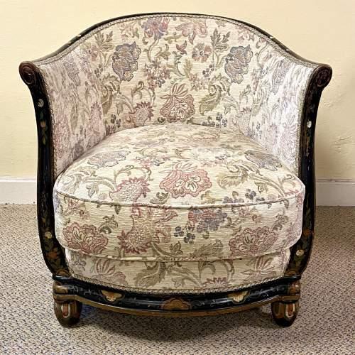 Victorian Ebonised Upholstered Tub Chair image-2