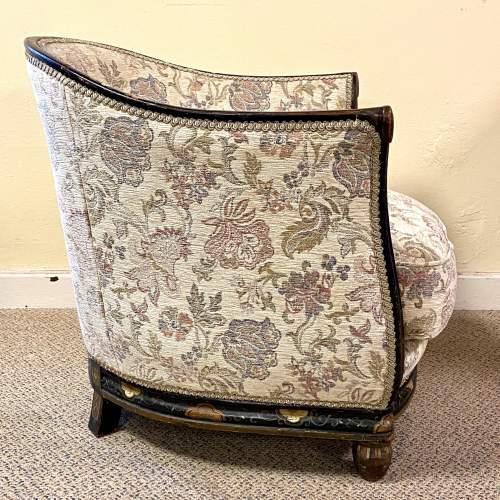Victorian Ebonised Upholstered Tub Chair image-3