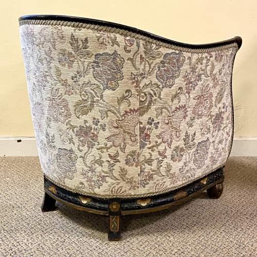Victorian Ebonised Upholstered Tub Chair image-4