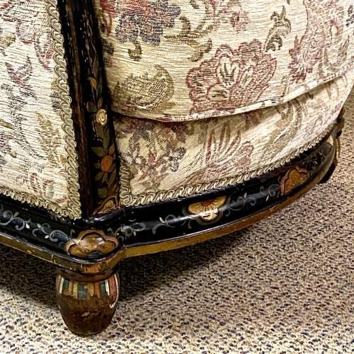 Victorian Ebonised Upholstered Tub Chair image-6