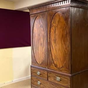 George III Mahogany Press Cupboard Wardrobe
