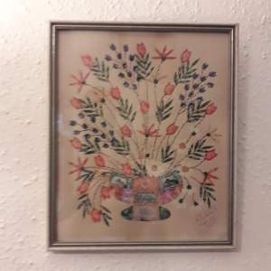 Still Life Picture Using Stamps and Watercolour Signed and Dated 1941