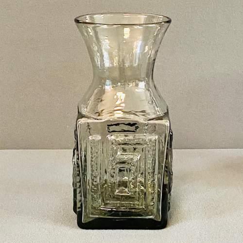 Dartington Grey Glass Greek Key Vase by Frank Thrower image-1