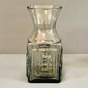 Dartington Grey Glass Greek Key Vase by Frank Thrower
